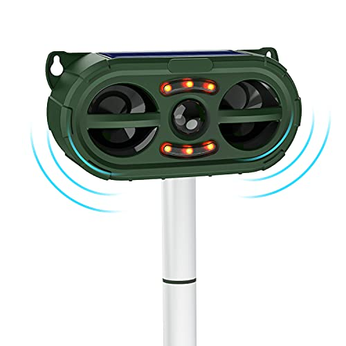Jahy2Tech 2021 Solar Ultrasonic in Repellent Defender Rat, Squirrel, Deer, Raccoon, Skunk, Rabbit, Mole, Dog, Cat, Waterproof with Motion Detector