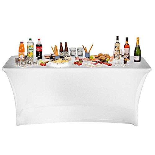 CROSS OUTDOOR 09298 - Housse Nappe pour Table Pliante - 180 cm - Blanche