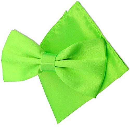 LABEL-CRAVATE Noeud papillon vert-anis-fluo et sa pochette-mouchoir