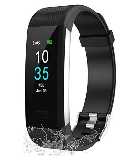 LEBEXY Fitness Armband Wasserdicht IP68 | Fitness Tracker Uhr | Smartwatch Schrittzähler Aktivitätstracker | Kalorienzähler Sportuhr eingebautes GPS, Schwarz