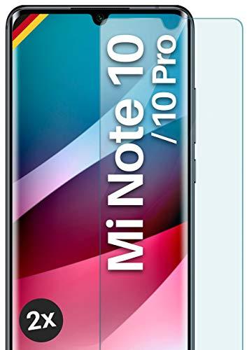 moex Panzerglas kompatibel mit Xiaomi Mi Note 10/Note 10 Pro - Schutzfolie aus Glas, bruchsichere Bildschirmschutz Folie, Crystal Clear Panzerglasfolie, 2X Stück