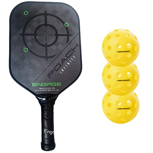 Engage Poach Infinity Second Generation Pickleball Paddle (Standard Weight 8.0 – 8.5 oz) & Onix 3-Pack Fuse G2 Pickleballs & Pickleball Tips Bundle Set – Racket for Control, Feel, Spin (Green)
