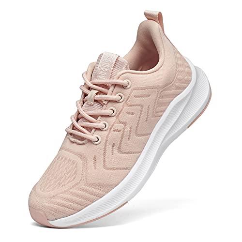 Zapatillas Deportivas de Mujer Cordones Zapatos de Ligero Running Fitness Zapatillas de para Correr Antideslizantes Amortiguación Sneakers Rosa 38