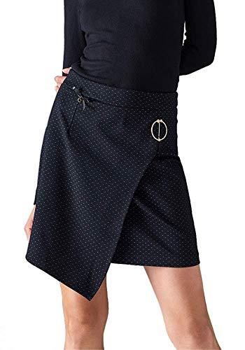 Lola Casademunt Falda Mujer Negra Corta de Punto Asimétrica Otoño/Invierno Sexy Elegante Minifalda Chica Fiesta Ajustada Cierre Cremallera Lateral Talla 40