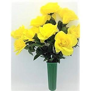 Cemetery Silk Flower Vase Yellow Open Rose Bouquet