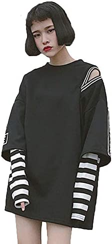 Packitcute Fashion Long Sleeve Pullover Sweatshirt Stripe Casual Hoodie for Women Teen Girls product image