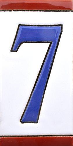 Hausnummer. Schilder mit Zahlen und Nummern auf Keramikkachel. Handgemalte Kordeltechnik fuer Schilder mit Namen, Adressen und Wegweisern. Design USA MEDIANO 10,9cm x 5,4 cm (Nummer SIEBEN
