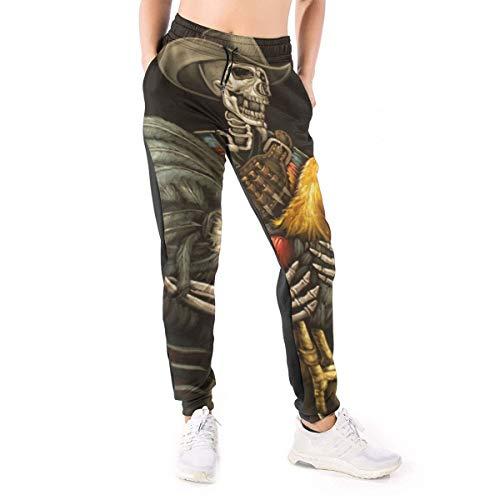 Calavera Holding Pintura al óleo 3D Impreso Casual Hip Hop Wears Joggers Pantalones Cool Chándal Chicas Mujeres, negro, L