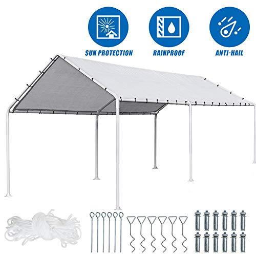 FDW Carport Car Port Party Tent Car Tent 10x20 Canopy Tent Heavy Duty Carport Canopy Metal Carport Tent Carport Kits Outdoor Garden Gazebo