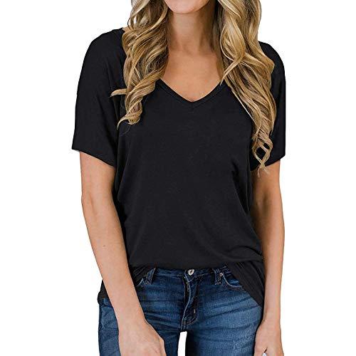 Masrin Damen T-Shirt Lässig Einfarbig Basic Tops Schlichte Einfachheit T-Shirts V-Ausschnitt Kurzarm Loose Tunika All-Match Bluse(L,Schwarz)