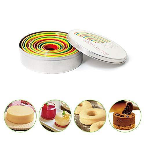 Juego de 12 cortadores redondos de galletas de acero inoxidable con forma de círculo, cortador de metal con tamaño graduado para repostería, donut, fondant, azucarería, multicolor