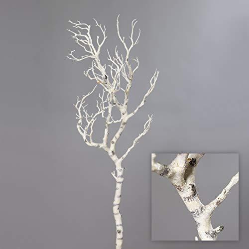 mucplants Künstlicher AST Weiß 90cm naturgetreuer Dekoast Dekozweig AST Zweig Kunstast aus Kunststoff