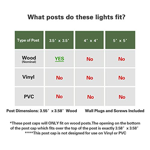Solar Post Cap Lights Outdoor- 4 Pack LED Fence Post Lights for Wooden Posts Warm White Waterproof for Deck, Patio or Garden Decoration (Black)