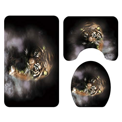 Mingdoo Tier Drucken Badezimmer Vorleger Teppich 4tlg Duschvorhang + Sockelteppich + Deckel Toilettendecke + Badematte - Tiger, 3 Stück