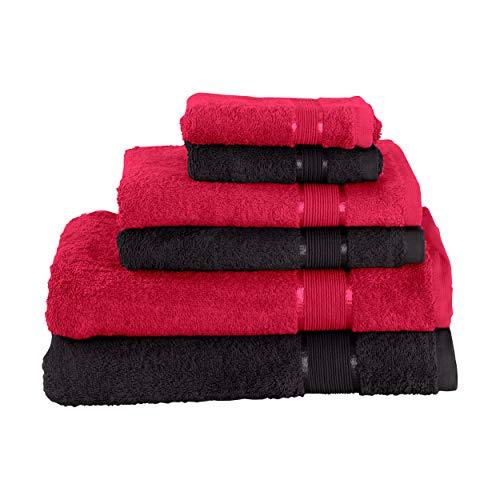 Mixibaby Juego de toallas de mano (2 toallas de baño, 2 toallas de ducha, 2 toallas de mano, 2 toallas de mano, color rojo vino con combinación de colores, color: negro)