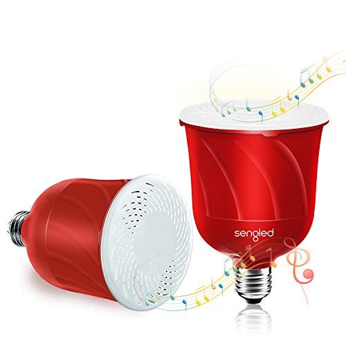 Sengled Pulse - Bombilla con altavoz Bluetooth E27, bombilla inteligente con altavoz Bluetooth JBL, luz blanca cálida, control por aplicación compatible con Amazon Alexa, 2 unidades, color rojo