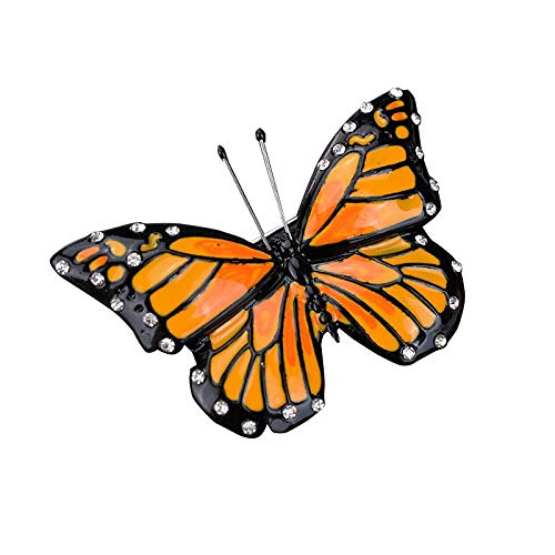Fransande Luxury Orange Enamel Butterfly Brooch for Women Party Gifts Accessory Vintage Brooch