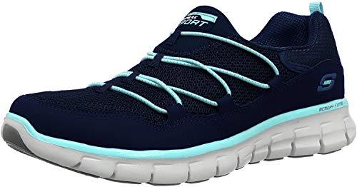 Skechers Sport Women's Loving Life Memory Foam Fashion Sneaker, Navy/Light Blue, 9