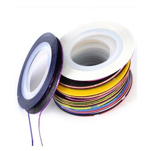 Lot de 30 Couleurs mélangées Art Tips Décoration Autocollant pour nail Rouleaux de ruban adhésif Ligne Striping DIY Care
