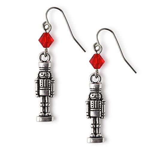 Pewter Nutcracker Earrings for Women Girls Christmas Jewelry
