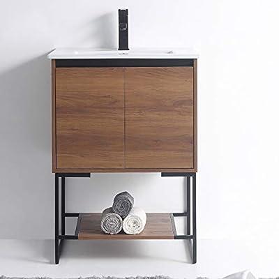 """URBANIA Vanity 24"""" Wide -2 Door/Shelf, Walnut Color, with Sink"""