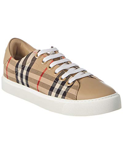 Burberry Scarpe Sneakers Donna in Tessuto e Pelle 8017249 Check Beige (Numeric_35_Point_5)