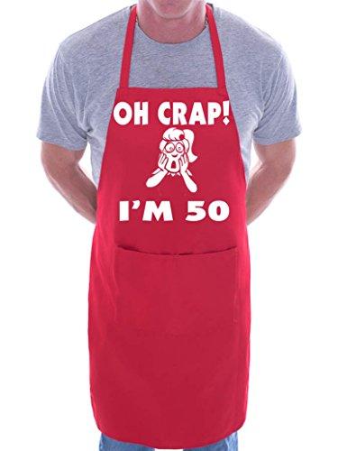 Print4U Oh Crap I 'm 50Ladies cumpleaños barbacoa cocinar Funny novedad–Delantal, Rojo