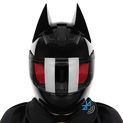 Casco De Moto Modular Bluetooth Integrado Casco De Moto Integral Casco De Oreja De Gato Fresco Personalizado Casco Anticolisión Certificado por Dot/ECE Adulto Unisex (54-62cm)