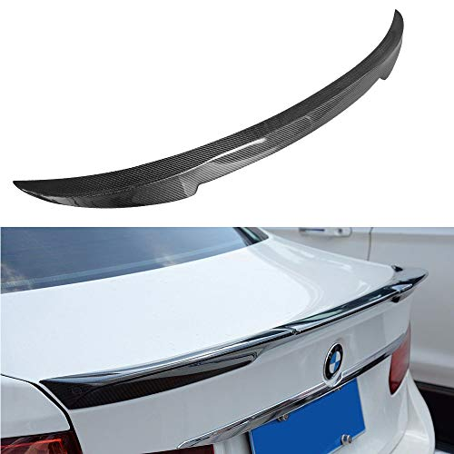 SCITOO Carbon Fiber Black Rear Trunk Spoiler Wing Exterior Accessories Styling Kits Replacement for BMW 328i xDrive 4-Door Sedan 3.0L Base