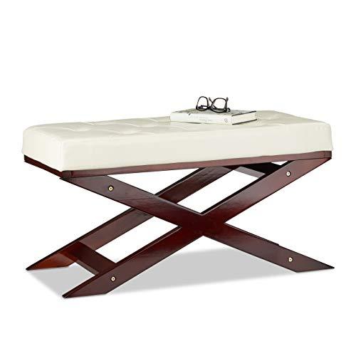 Relaxdays Sitzbank mit Polster ohne Lehne, aus Holz und Kunstleder, Zweisitzer, HxBxT 40 x 76 x 38, weiß