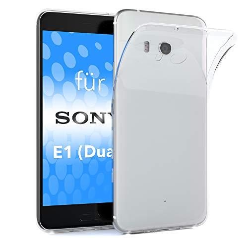 EAZY CASE Hülle kompatibel mit Sony Xperia E1 (Dual) Schutzhülle Silikon, Ultra dünn, Slimcover, Handyhülle, Silikonhülle, Backcover, Durchsichtig, Klar Transparent