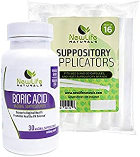 NewLife Naturals Boric Acid Suppositories 600mg w/Vaginal Applicators: 30 Suppositories & 16 Applicators - pH Balance for ...