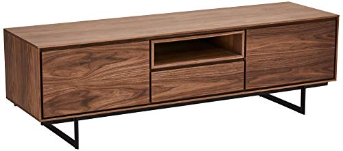 Ibbe Design Nussbaum Matt Tv Tisch Lowboard MDF Walnuss Furnier Tokyo mit 2 Türen und Schublade, Schwarz Metall Gestell, 160x45x50 cm