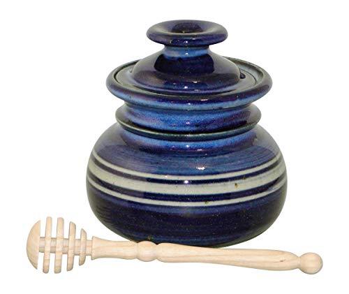 Hermans-Keramik Honigtopf Mit Gedrechseltem Honigspender, Blaue Glasur, C3 Honig