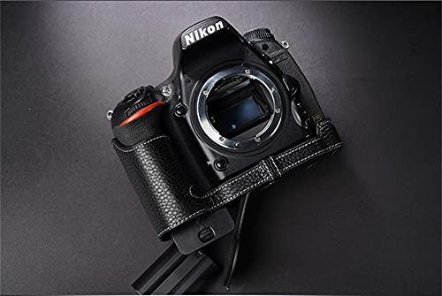 ULIN Estuche para Bolsa de cámara para Nikon D750 Cubierta de Medio Cuerpo de Cuero Genuino Hecho a Mano con Apertura de batería,Negro