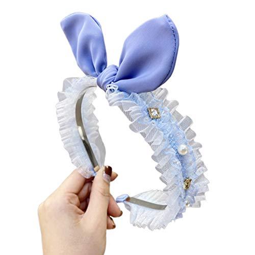 WFZ17 Serre-tête en dentelle plissée avec oreilles de lapin bleu clair