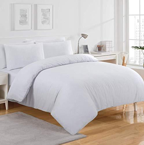 Sábana bajera ajustable de franela térmica blanca de 30 cm de profundidad, 100% algodón cepillado suave, calidad de hotel, extra suave, ropa de cama (King)