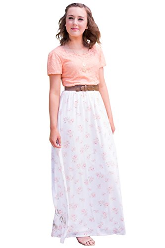 Mikarose Floral Maxi Modest Skirt In Cream w/Pink Floral Print