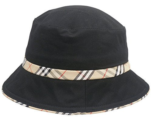 Roffatide Unisexe Plaid Bordered Chapeau de Peche Chapeau de Soleil Bobs Chasse Camping Randonnée Noir