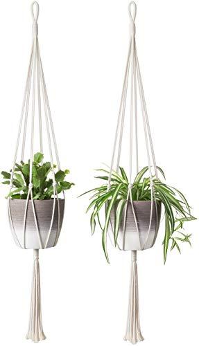 Mkono Makramee-Pflanzenhänger, einfaches Design, zum Aufhängen, Übertopf, dekorativer Blumentopfhalter, Baumwollseil, für den Innen- und Außenbereich, Heimdekoration, 6 Beine, stabiler, 101,6 cm, 2 Stück