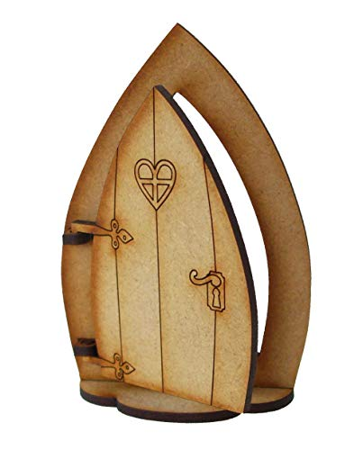 Alchemy Engraving Limited - Puerta de hada de madera con base de soporte - Kit de montaje para puerta de hada o gnomo