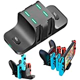 【最新版6in1】ジョイコン 充電スタンド for Nintendo Switch 急速充電 Chechna Joy-Con充電 コントローラー充電 Proコン対応 収納 一体型 取り付け簡単 充電ホルダー 充電指示ランプ付き