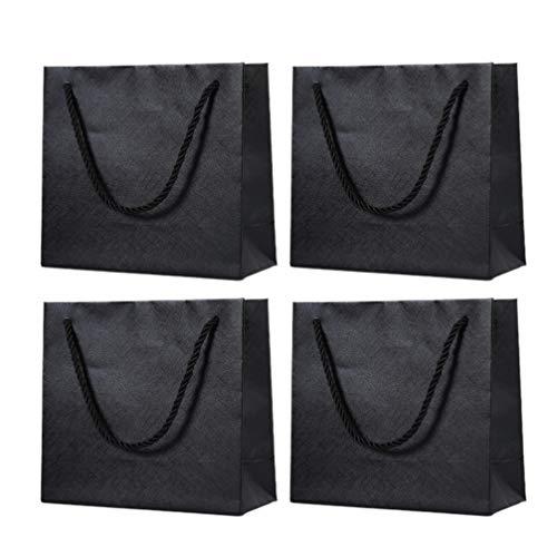 KESYOO ギフトバッグ 紙袋 手提げ袋 板紙 ボール紙 ラッピング袋 プレゼント おしゃれ 引き出物袋 結婚式 バレンタインデーのプレゼント用 4個セット (ブラック)