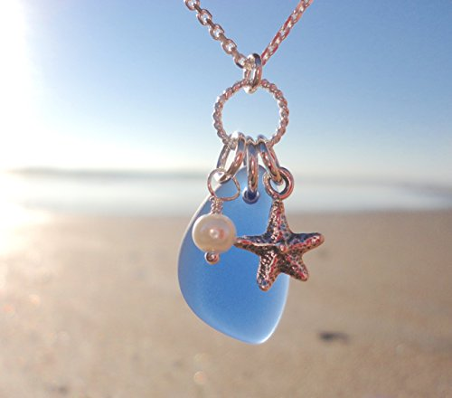 Cobalt Blue SEA GLASS Charm Necklace - Blue Cultured Sea Glass - Sterling Silver 18' chain - With Pearl and Starfish Charms -Nautical Beach Jewelry - Ocean Blue Beach Glass Necklace