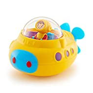 Fun yellow submaraine bath toy Just submerge to create air bubbles Cabin spins when submarine rotates Lightweight and great size for baby to hold helps develop fine motor skills and teaches cause and effect