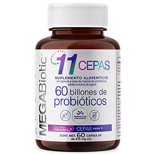 MEGABIOTIC 60 Billones de Probioticos y 11 cepas | Para 60 Días | Reforzado con Prebióticos y Fibra | con Lactobacilos / Lactobacillus
