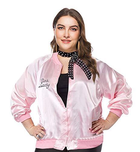 1950s Plus Size Grease Rhinestone Pink Ladies Jacket, Pink Rhinestone, Size 3.0