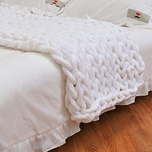 Manta de punto de lana de punto grueso, muy grande, tejida a mano, para mascotas, cama, silla, sofá (blanco, 120 x 150 cm)