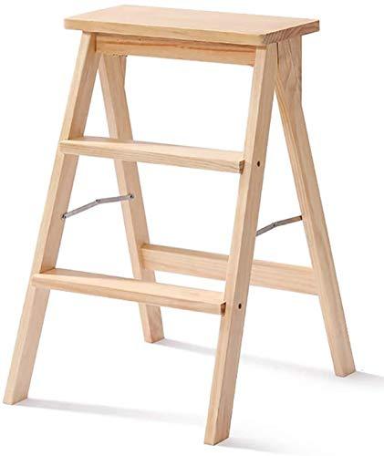 GDFEH Taburete de 3 pasos de madera maciza, silla de escalera de madera maciza, escalera plegable para ordenador portátil, multifuncional taburete de cocina (color: color madera)