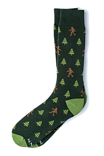 Men's Hipster Designer Gone Sasquatchin Sasquatch Big Foot Contemporary Crew Dress Socks (Hunter Green)